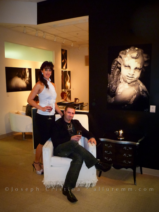 Fine Art Photographer Joseph Cristina and his amazing wife Fabiola Cristina relaxing before Gallery Exhibition Opening Night Begins